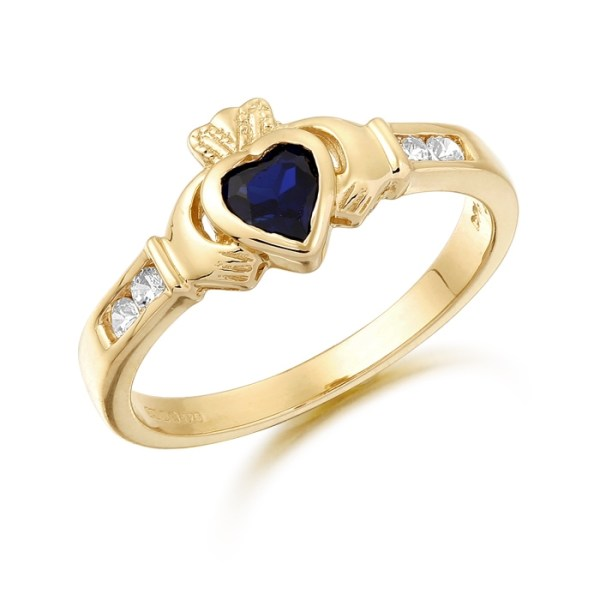 9ct Gold Claddagh Ring studded with Sapphire and precision set Cubic Zirconia settings on each side of the shoulder - CL100S