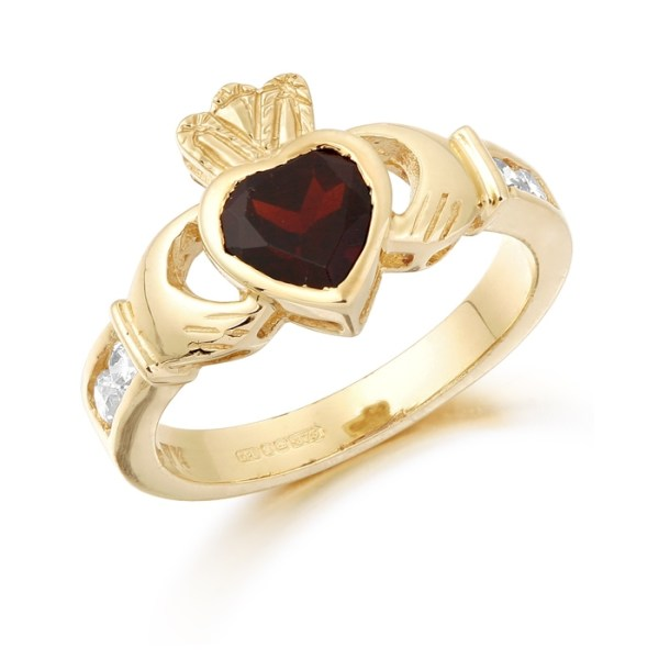 9ct Gold Claddagh Ring studded with Garnet and precision set Cubic Zirconia settings on each side of the shoulder - CL102GAR