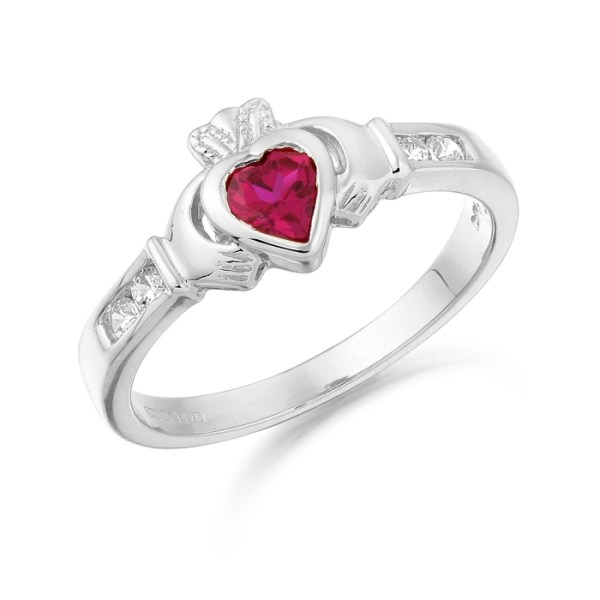 9ct White Gold Claddagh Ring embellished with CZ and Ruby Stone - CL100RW