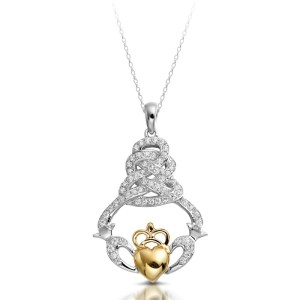 9ct Gold Claddagh Pendant-P017W