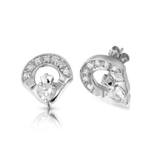 9ct Gold Claddagh Earrings-E187W