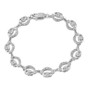 Silver Claddagh Bracelet-SCLB4CZ