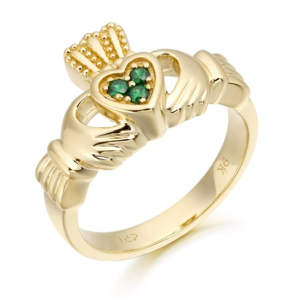 9ct Gold Claddagh Ring studded with CZ Emerald in the Heart - CL15G