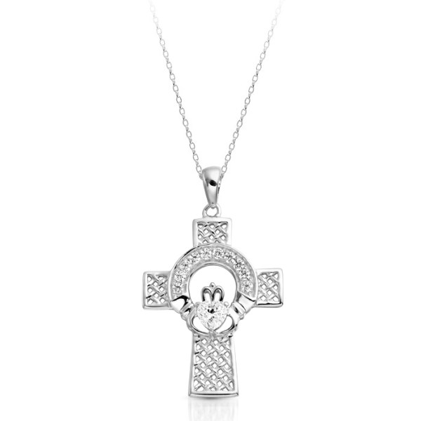 Silver Claddagh Cross Pendant combined with Celtic Knot design - SC126