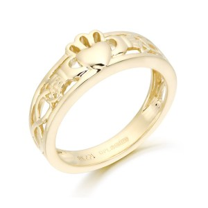 Claddagh Ring with Celtic Knot-CL3