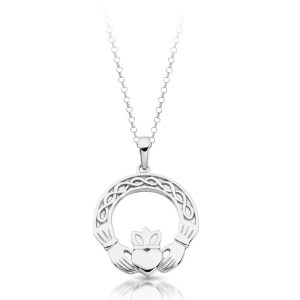 Silver Celtic Claddagh Pendant with Chain-SP025IJ