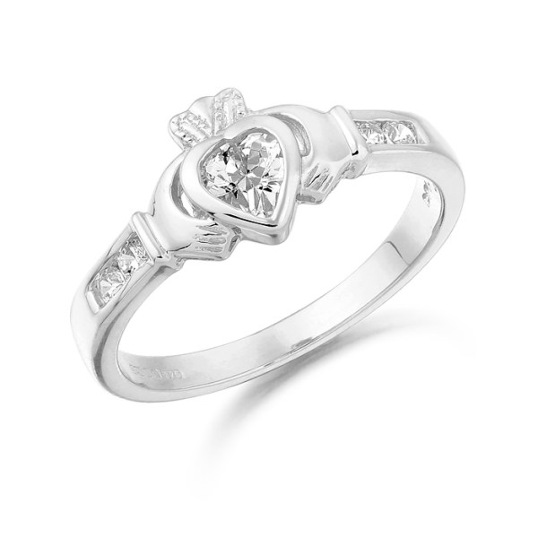 This 9ct White Gold Claddagh Ring crafted by Irish Jeweller in Ireland - CL100W