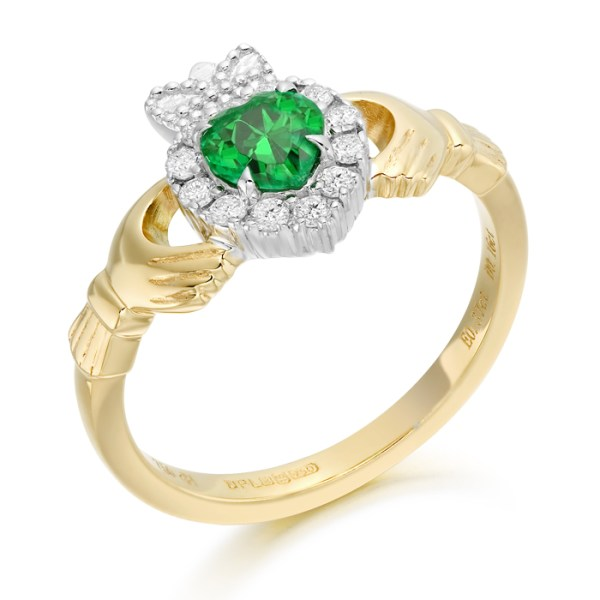 18ct Gold Diamond and Emerald Claddagh Ring