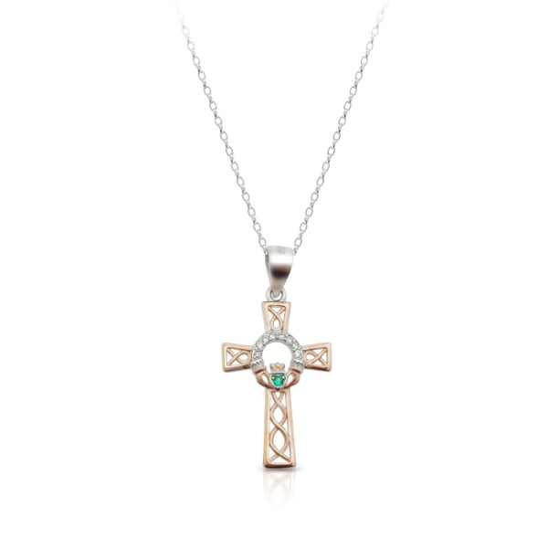 Silver Claddagh Cross with Celtic Knot