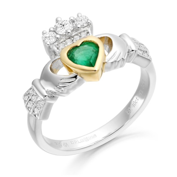18ct White Gold Emerald and Diamond Claddagh Ring - CLDIA3W