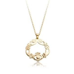 Claddagh Pendant with Celtic Knot design-P051S
