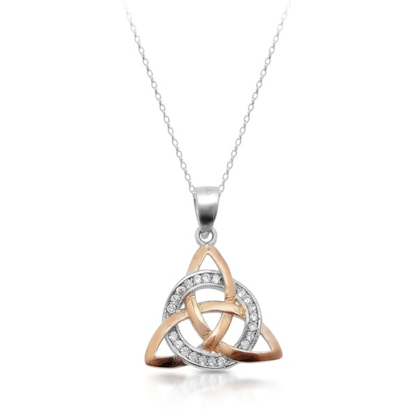 Silver Trinity Knot Celtic Pendant with Rose Gold Plating - SP88