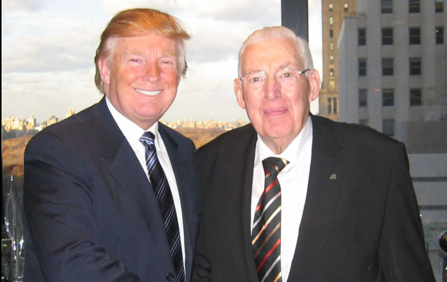 Donald Trump, TV celebrity and joke-without-a-punchline, greets Ian Paisley, the late DUP leader and current inhabitant of the fiery pits of hell. Or something...