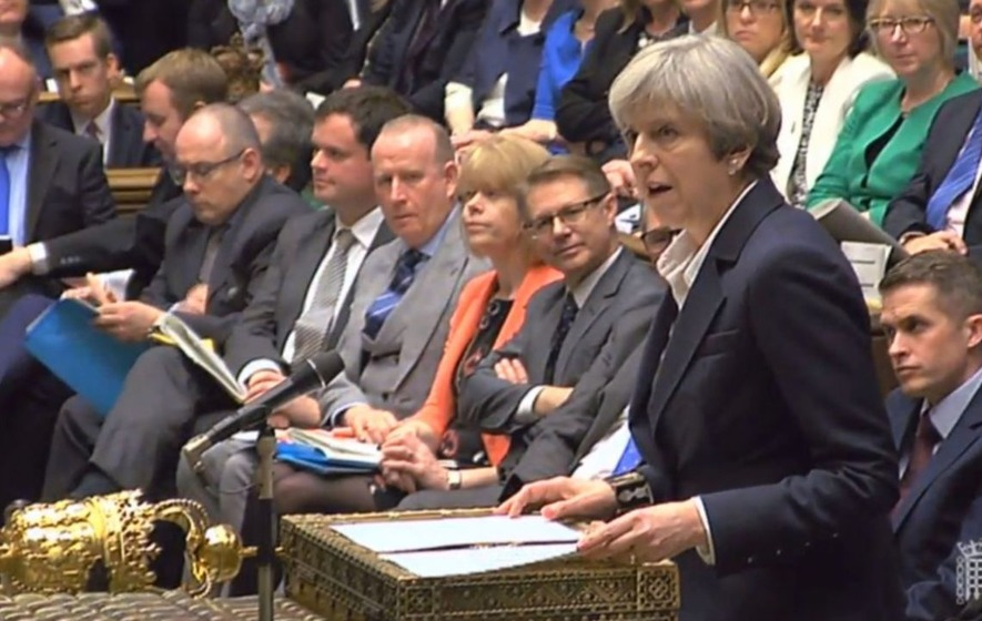 Image result for PHOTOS OF THERESA MAY SPEAKING TO PARLIAMENT