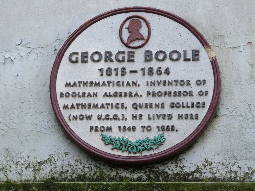 A plaque commemorating George Boole on the house in which he lived from 1849 to 1855.