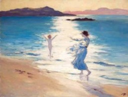 Painting of a child walking ankle deep into a sunlit sea watched by a woman.