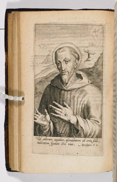 "St Francis, from St Bonaventura's ""Life"" of the saint (1597) (c) Marshs Library (cc)"