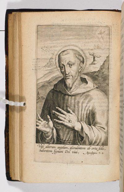 "St Francis, from St Bonaventura's ""Life"" of the saint (1597) (c) Marshs Library (cc)"
