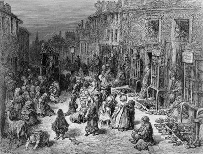 Gustave Dore. Dudley street, seven dials. Busy street scene with sets of shops which can be seen on the right. The shops are selling shoes which are lining up on the floor around the opening from under the ground. Children and their mothers are in front of them. This image was first published in 'London, a Pilgrimage' 1872, on p.158.
