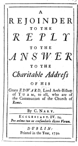 Nary's 1730 pamphlet replying to Archbishop Synge