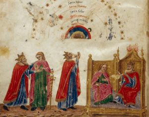 This image from a 15th century Macrobius manuscript shows the Dungal order of planets (MS Typ 7, Houghton Library, Harvard University)