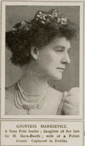 Head shot of Countess Markievicz in evening dress