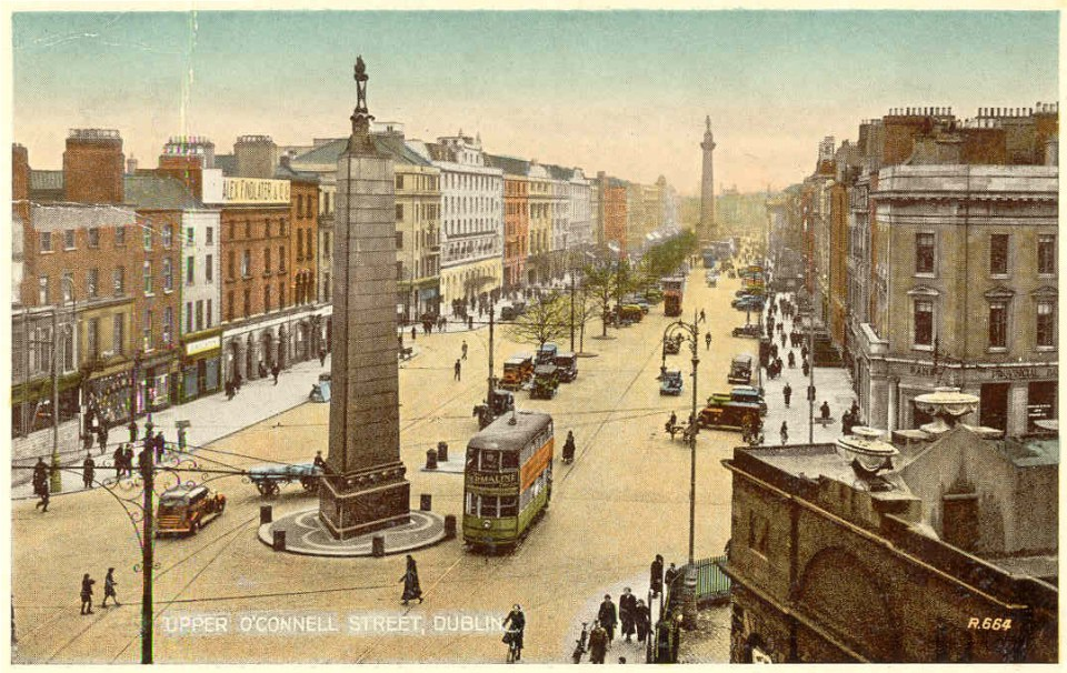 Early 20th century O'Connell St Dublin Wikimedia, public domain