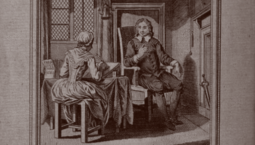 John Milton dictating 'Paradise Lost' to his daughter due to his blindness