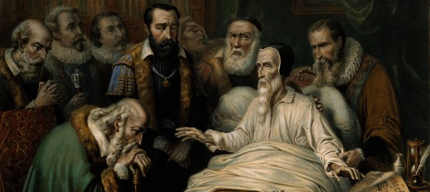 John Calvin on his deathbed, with members of the Church in attendance. Protestant reformer in Geneva.