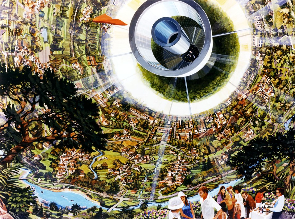 Interior of Bernal Sphere including human powered flight. Art work: Rick Guidice courtesy NASA Ames Research Center