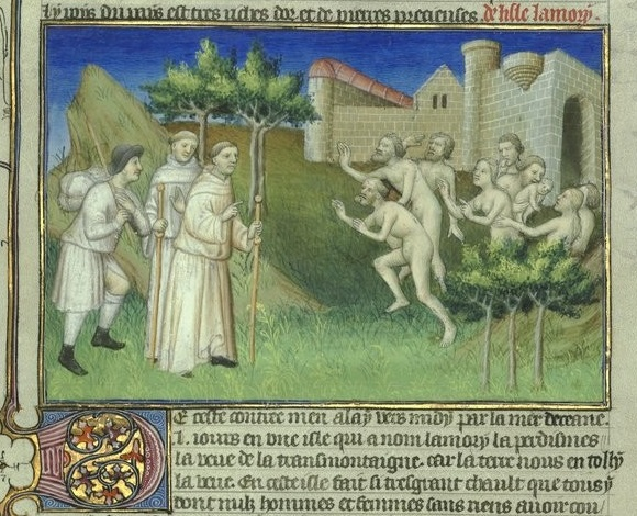 Two monks and a guide (Odoric of Pordenone and James of Ireland) encounter a group of naked cannibals outside city walls.