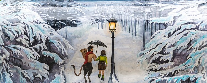 Lucy meets Tumnus: against a snowy landscape, a little girl and a faun carrying parcels stand under a wrought iron streetlight.