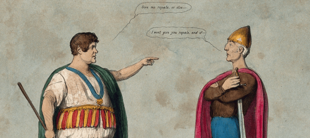 Daniel O'Connell and the Duke of Wellington, both dressed as Irish chieftains, argue about Repeal.