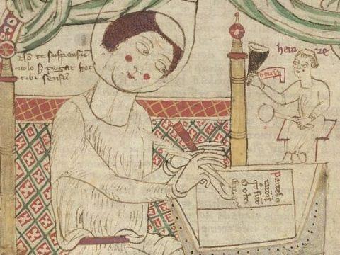 Depiction in a 12th century manuscript of Donatus writing his grammar.