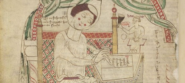 Depiction in a 12th century manuscript of Donatus writing his grammar.
