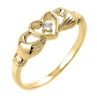 Claddagh Ring - Yellow Gold Claddagh Ring with Diamond at ...