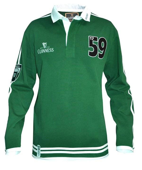 Guinness Green Long Sleeve Rugby Shirt