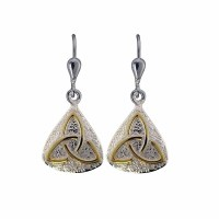 Irish Earrings - Sterling Silver with Gold Plated Trinity ...