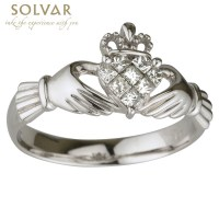 Claddagh Ring - 14k White Gold Diamond Claddagh at ...