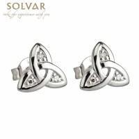 Celtic Earrings - 14k White Gold Trinity Knot Diamond ...