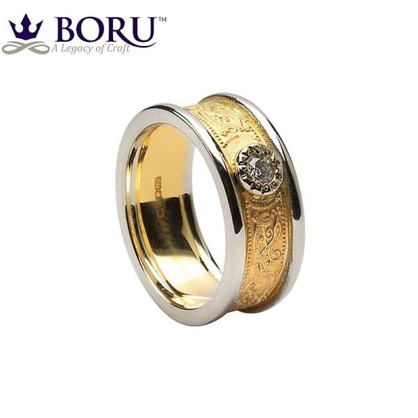 Celtic Ring - Ladies Gold Diamond Warrior Shield Wedding