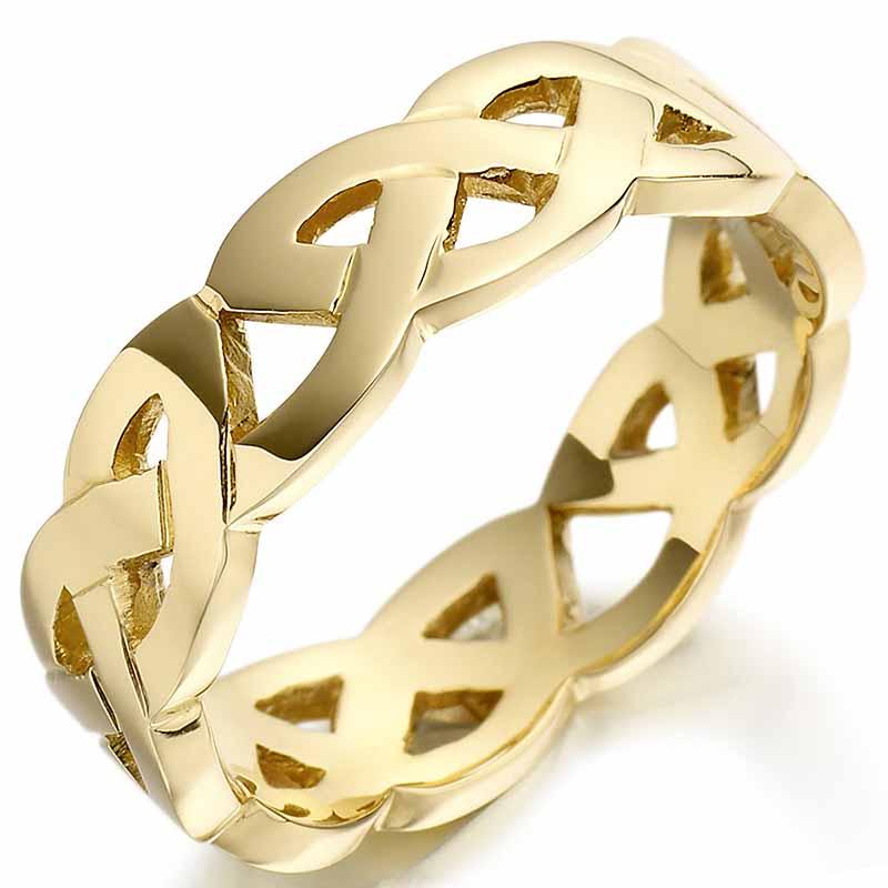 Irish Wedding Ring Mens Gold Celtic Trinity Knot Wedding