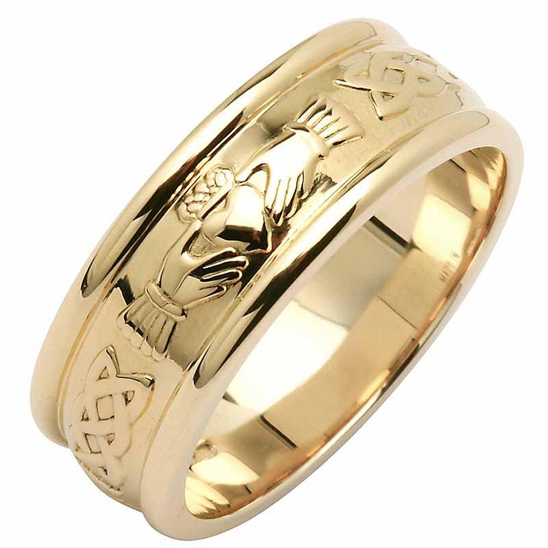 Irish Wedding Ring  Mens Wide Corrib Claddagh Wedding