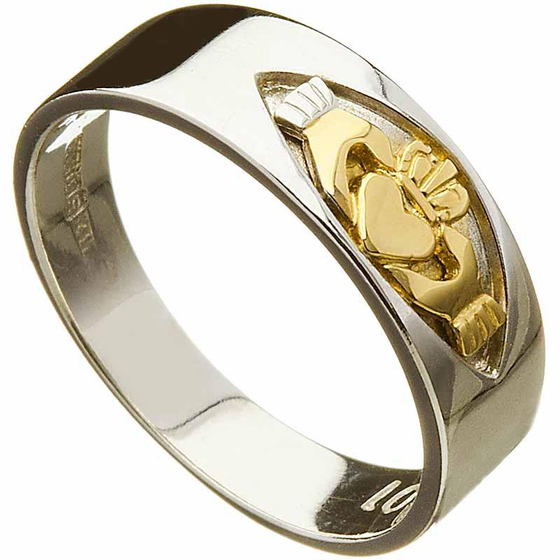 Irish Wedding Ring  Mens Claddagh Insert 10k White Gold