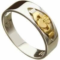 Irish Wedding Ring - Mens Claddagh Insert 10k White Gold ...