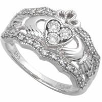 Claddagh Ring - 14k White Gold Diamond Ladies Irish ...