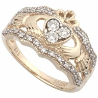 Claddagh Ring - 14k Yellow Gold Diamond Ladies Irish ...