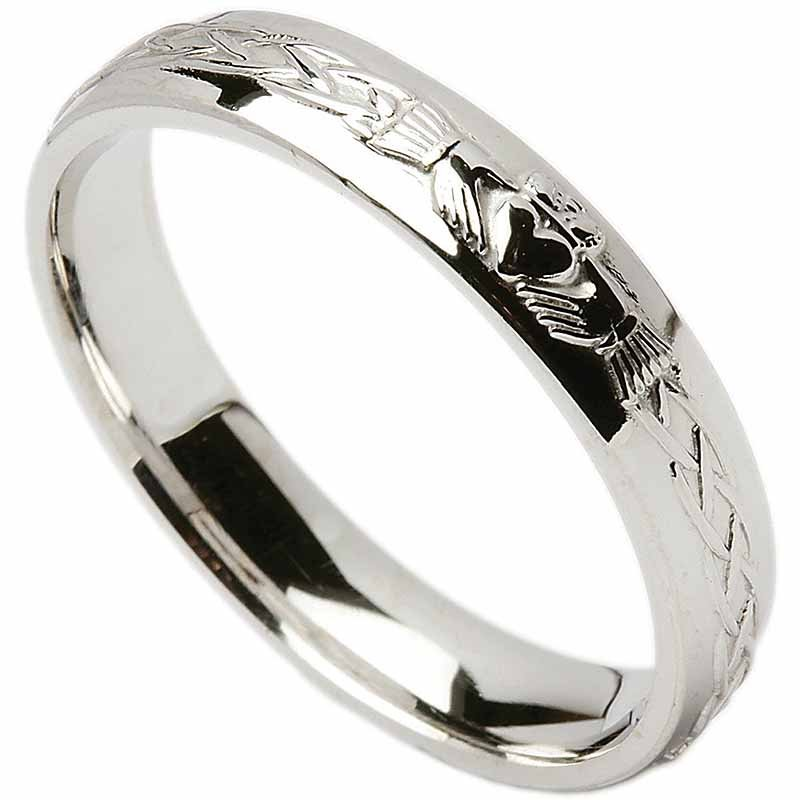 Irish Wedding Ring  Celtic Knot Claddagh Mens Wedding