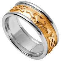 Claddagh Ring - Men's Yellow Gold with White Gold Trim ...