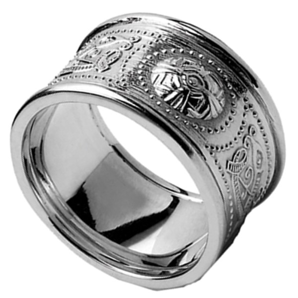 Celtic Ring - Men' White Gold Warrior Shield Wedding Band